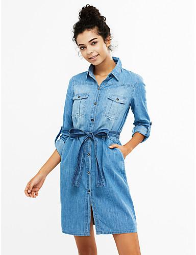 Kadın's Pamuklu Salaş Kot Kumaşı Elbise - Zıt Renkli Gömlek Yaka Diz üstü