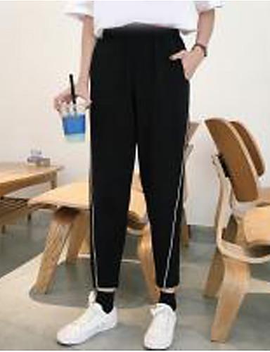 Damen Einfach Mittlere Hüfthöhe Mikro-elastisch Chinos Haremshosen Hose einfarbig