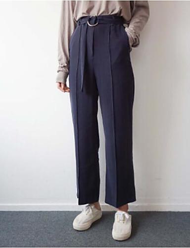 Damen Sexy Hohe Hüfthöhe Mikro-elastisch Lose Lose Hose einfarbig