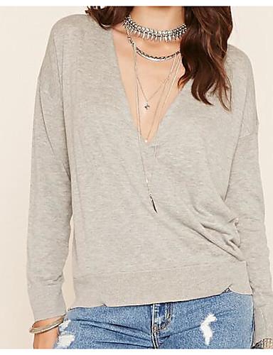 Damen Solide Einfach Lässig/Alltäglich T-shirt,V-Ausschnitt Frühling Langarm Kunst-Pelz Undurchsichtig