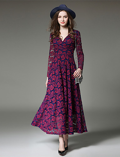 Damen Hülle Spitze Swing Kleid-Party Ausgehen Anspruchsvoll Patchwork V-Ausschnitt Maxi Langarm Polyester Frühling Herbst Hohe Hüfthöhe