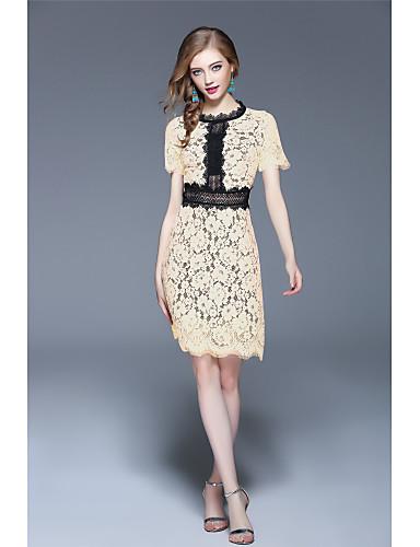 Damen Spitze Kleid-Ausgehen Lässig/Alltäglich Urlaub Sexy Einfach Street Schick Solide Ständer Übers Knie Kurzarm PolyesterFrühling