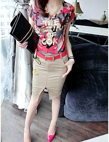 Damen Geometrisch Einfach Lässig/Alltäglich T-shirt,V-Ausschnitt Kurzarm Polyester