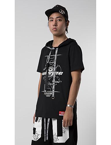 Herren Solide Muster Einfach Street Schick Punk & Gothic Athlässigkeit Strasse Lässig/Alltäglich T-shirt,Rundhalsausschnitt Sommer Kurzarm