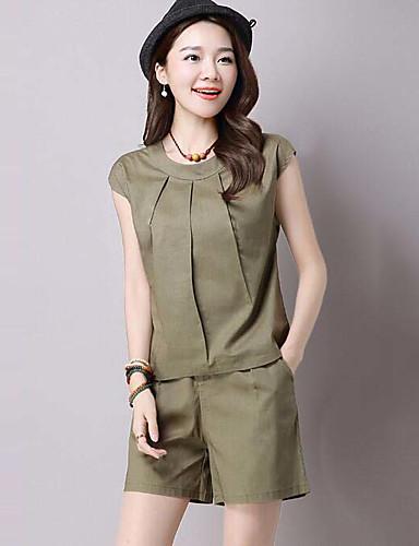 Damen einfarbig Einfach Ausgehen Lässig/Alltäglich Muskelshirt Hose Anzüge,Rundhalsausschnitt Sommer Ärmellos