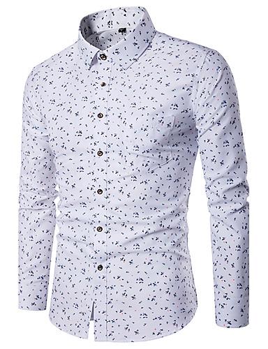 Homens Camisa Social Estampado, Geométrica Colarinho Clássico Delgado