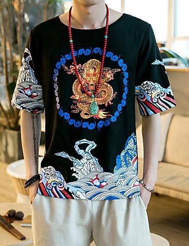 Pánské Tisk Běžné/Denní Čínské vzory Tričko-Léto Podšívka Kulatý Krátký rukáv Neprůhledné