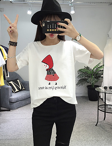 Damen Solide Druck Niedlich Ausgehen Lässig/Alltäglich Urlaub T-shirt,Rundhalsausschnitt Sommer Kurzarm Baumwolle Mittel