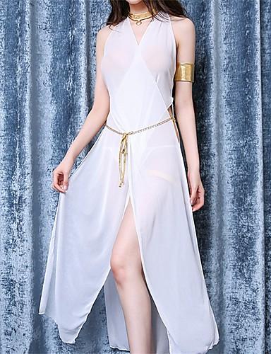 Mulheres Super Sensual Roupa de Noite Sólido, Fina Branco