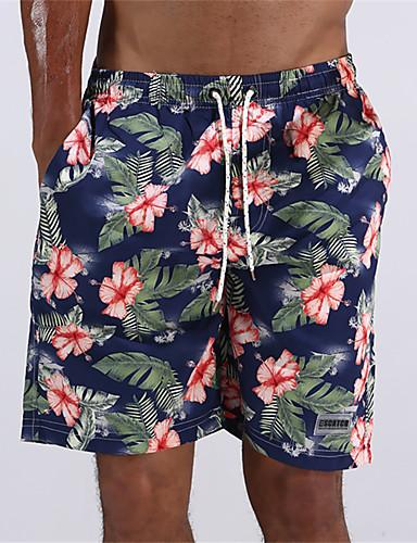 Pánské maskování Kalhotky Plavky Květinový Polyester Na ramínkách Vodní modrá Námořnická modř