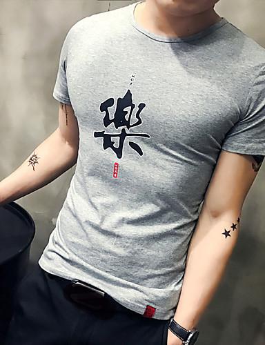 Miehet Lyhythihainen Ohut Keskipaksu Pyöreä kaula-aukko Puuvilla Kesä Yksinkertainen Aktiivinen Rento/arki T-paita,Painettu
