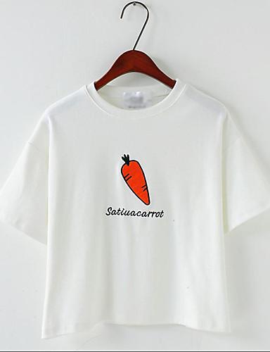 Damen Druck Einfach Niedlich Lässig/Alltäglich T-shirt,Rundhalsausschnitt Frühling Sommer Kurzarm Baumwolle Dünn
