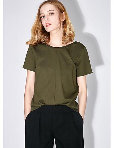 Naiset Lyhythihainen Pyöreä kaula-aukko Puuvilla Yksinkertainen Päivittäin Kausaliteetti T-paita,Yhtenäinen