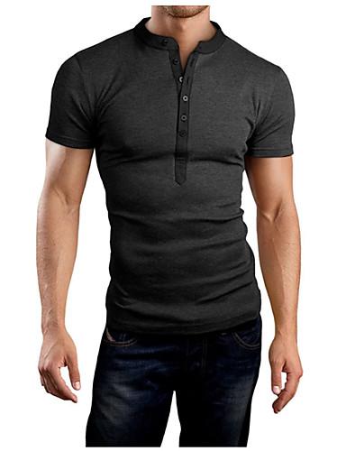 Miehet Lyhythihainen V kaula-aukko Villasekoite Yksinkertainen Päivittäin Kausaliteetti T-paita,Yhtenäinen