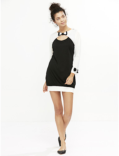 Women's Bow Long Sleeve Color Block Bodycon Mini Dress