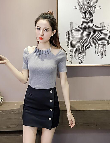 Damen Solide Retro Ausgehen T-shirt,Rundhalsausschnitt Kurzarm Baumwolle