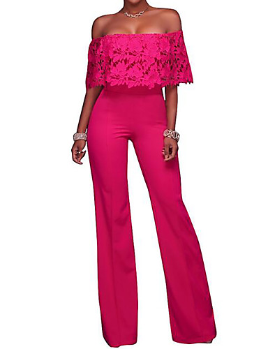 9813c413d54 Women s Off Shoulder Wide Leg Lace Daily Boat Neck Black Yellow Fuchsia  Wide Leg Jumpsuit