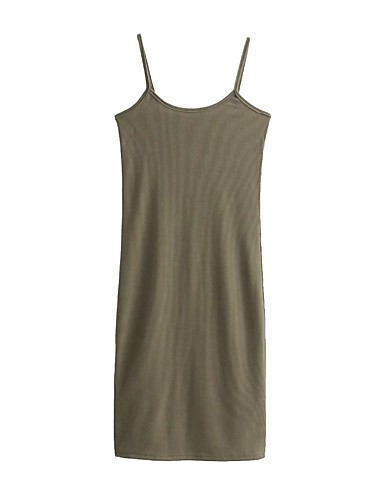 Damen Bodycon Lose Etuikleid Kleid-Ausgehen Lässig/Alltäglich Einfach Street Schick Solide Gurt Midi Ärmellos Seide Baumwolle Sommer