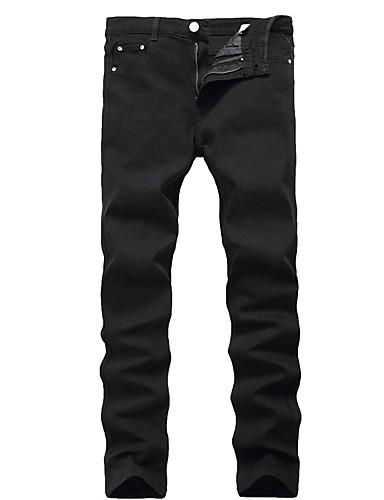 Homens Casual Cintura Média Elasticidade Alta Reto Delgado Jeans Calças, Algodão Poliéster Primavera/Outono/Inverno/Verão Sólido