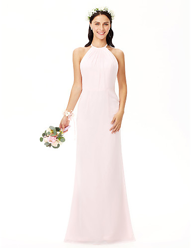 Sheath   Column Jewel Neck Floor Length Chiffon Bridesmaid Dress with Pleats  by LAN TING BRIDE® 989318faa12d