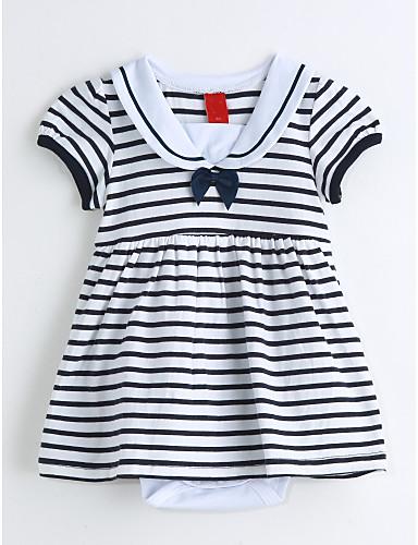 Baby Einzelteil Streifen Baumwolle Sommer Kurze Ärmel Blau