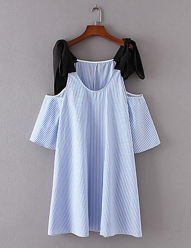 Damen Lose Etuikleid Kleid-Ausgehen Lässig/Alltäglich Einfach Street Schick Gestreift Gurt Übers Knie Ärmellos Seide Baumwolle Sommer