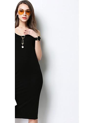 Damen Swing Kleid Einfach Solide Rundhalsausschnitt Midi Ärmellos Acryl Sommer Tiefe Hüfthöhe Unelastisch Mittel