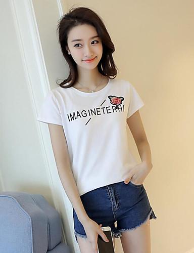 Damen Solide Niedlich Ausgehen T-shirt,Rundhalsausschnitt Kurzarm Baumwolle