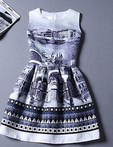 Damen A-Linie Kleid-Ausgehen Solide Rundhalsausschnitt Übers Knie Ärmellos Baumwolle Sommer Mittlere Hüfthöhe Mikro-elastisch Dünn