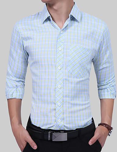 Homens Camisa Social Vintage Boho Estilo Formal Clássico Fashion, Estampa Colorida Xadrez Treliça Algodão
