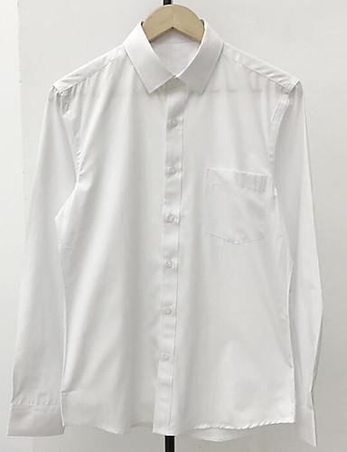 Herren Solide Einfach Lässig/Alltäglich Hemd,Hemdkragen Langarm Baumwolle Dünn