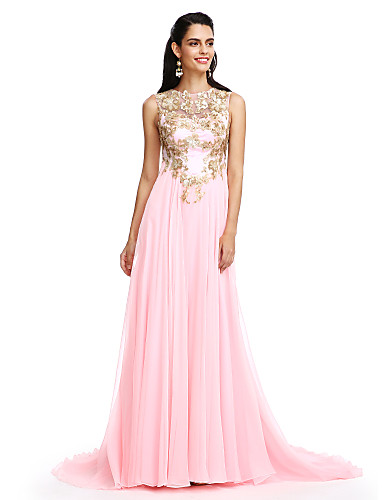 A-Line Illusion Neckline Sweep / Brush Train Chiffon Formal Evening Dress with Sequin Appliques by TS Couture®
