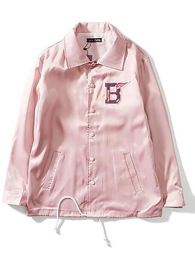 Dámské Jednobarevné Běžné/Denní Jednoduchý Bunda-Jaro Polyester Košilový límec Dlouhý rukáv Standardní