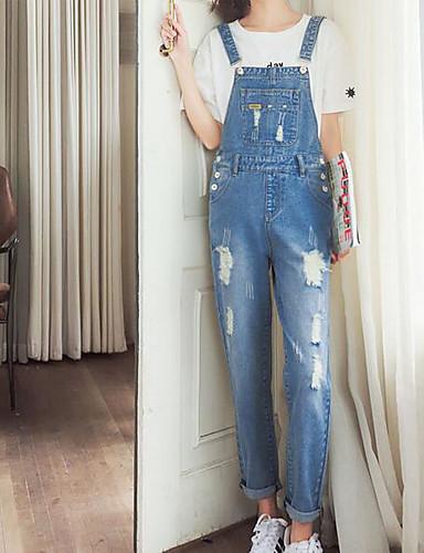 Damen Einfach Mittlere Hüfthöhe Mikro-elastisch Overall Schlank Hose Solide