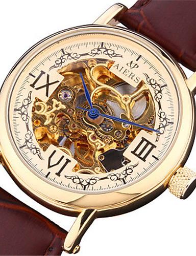 Pánské Módní hodinky mechanické hodinky Automatické natahování Kalendář Voděodolné Kůže Kapela Hnědá