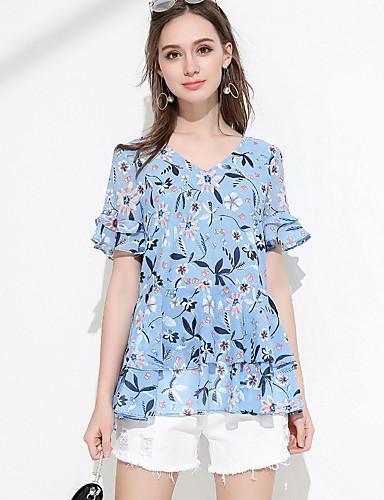 Dámské Jednobarevné Denní Jednoduché Košile Akryl Do V Krátký rukáv