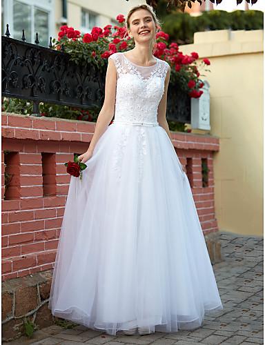 A-Linie U-Ausschnitt Boden-Länge Tüll Benutzerdefinierte Brautkleider mit Perlenstickerei Applikationen Knopf durch LAN TING BRIDE®
