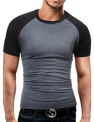 Homens Camiseta - Esportes Final de semana Bandagem Trabalho Activo Patchwork, Estampa Colorida Algodão Decote Redondo Delgado