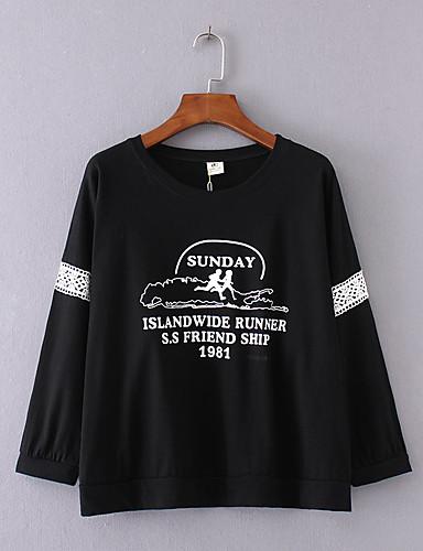 Damen Druck Sexy Einfach Street Schick Lässig/Alltäglich Ausgehen T-shirt,Rundhalsausschnitt Sommer Langarm Baumwolle Mittel Dünn