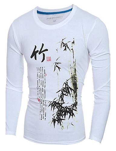 Homens Camiseta Temática Asiática Sólido Algodão Decote Redondo