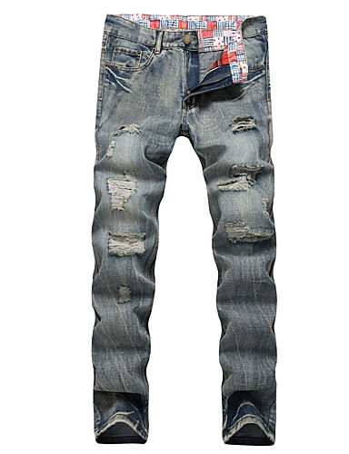 Men's Active Street chic Plus Size Cotton Slim Straight Loose Slim Jeans Pants - Solid Colored Ripped