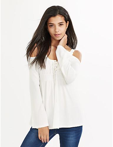 Dame-Ensfarvet Krøllede Folder Afslappet T-shirt