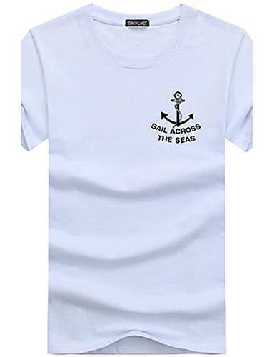 Pánské Jednobarevné Tisk Jednoduché Tričko-Léto Bavlna Kulatý Krátký rukáv Střední
