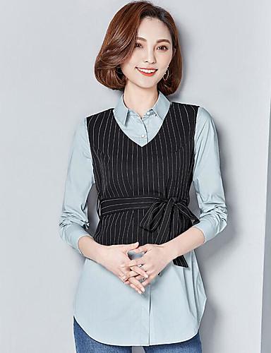 Damen Solide Einfach Lässig/Alltäglich Hemd,Hemdkragen Langarm Polyester