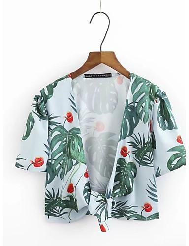 Damen Druck Sexy Einfach Street Schick Ausgehen Lässig/Alltäglich T-shirt,V-Ausschnitt Sommer Kurzarm Baumwolle Dünn Mittel