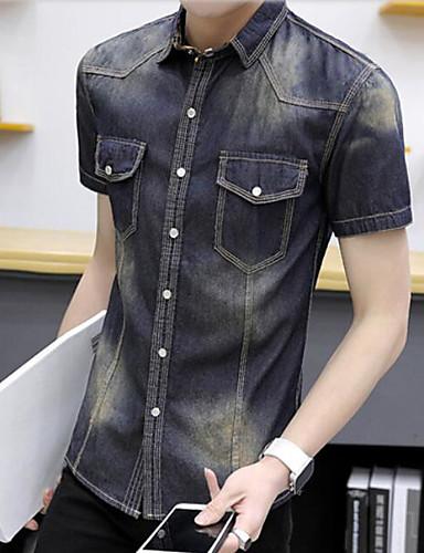Pánské Jednobarevné Jednoduchý Košile Umělé hedvábí Hranatý Krátký rukáv