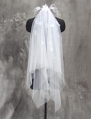 Zweischichtig Schnittkante Hochzeitsschleier Ellbogenlange Schleier Mit Perlenstickerei Blume Tüll