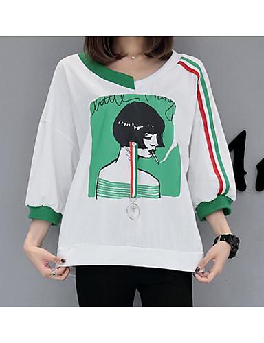 Damen Druck Einfach Street Schick Ausgehen Lässig/Alltäglich T-shirt,Rundhalsausschnitt Sommer Herbst ½ Länge Ärmel Baumwolle Dünn