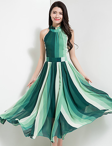 Women's Going out Vintage / Boho Slim Chiffon / Swing Dress - Color Block Pleated High Waist Maxi / Spring / Summer