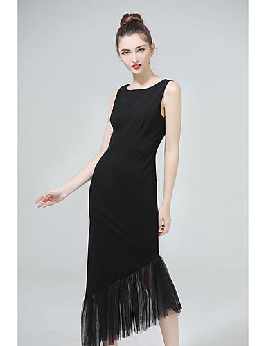 Dámské Denní Na běžné nošení Bodycon Asymetrické Šaty Jednobarevné Bez rukávů Kulatý